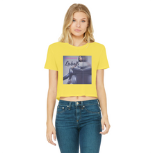 Load image into Gallery viewer, DeDe Sha'Ron - Labels Classic Women's Cropped Raw Edge T-Shirt