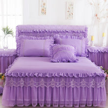 Load image into Gallery viewer, 1 Piece Lace Bed Skirt +2pieces Pillowcases bedding set Princess Bedding Bedspreads sheet Bed For Girl bed Cover King/Queen size