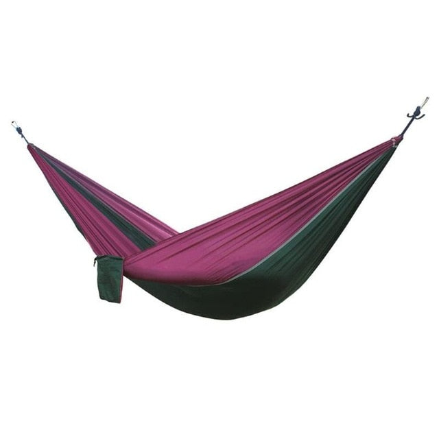 Nylon Double Person Hammock Adult Camping Outdoor Backpacking Travel Survival Garden Swing Hunting Sleeping Bed Portable Hammock