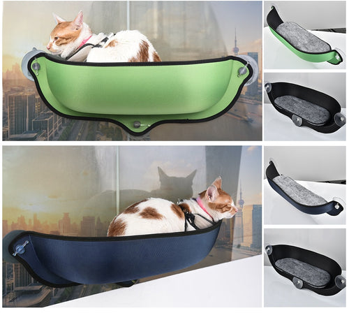 Cat Window Hammock With Strong Suction Cups Pet Kitty Hanging Sleeping Bed Comfortable Warm Ferret Cage Cat Shelf Seat Beds