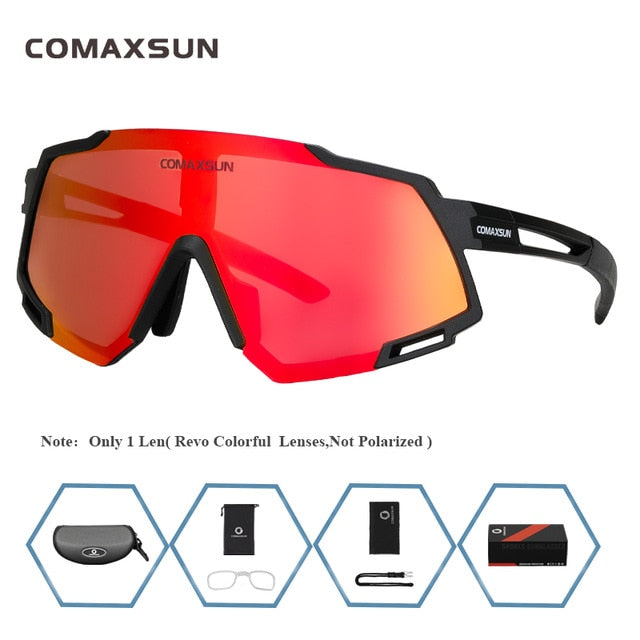 COMAXSUN Professional Polarized 5 Len Cycling Glasses MTB Road Bike Sport Mirror Sunglasses Riding Eyewear UV400 Bicycle Goggles