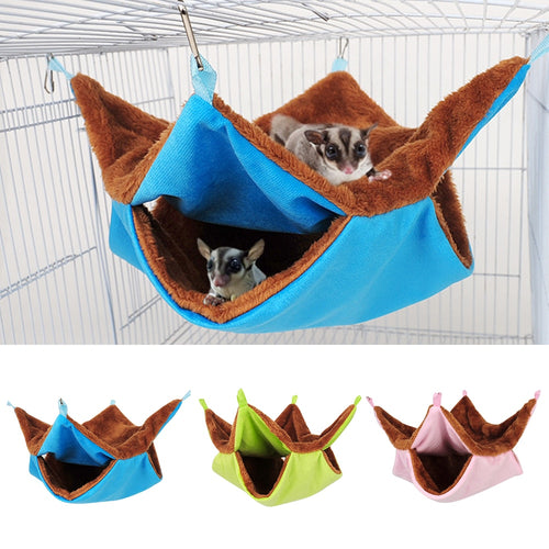 Plush Hamster Hammock Hanging Double Thick Plush Warm Sleeping Bag Nest LargeHanging House For Ferret Rabbit Pet Bed LL