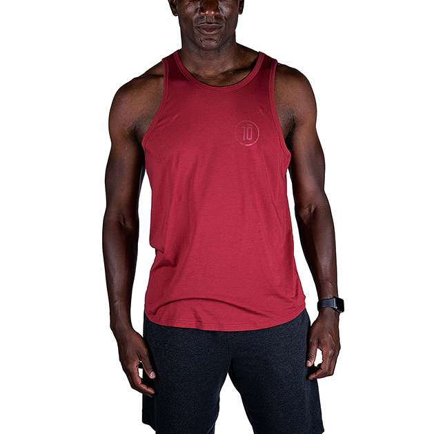 Tensho 10 Tank Premium supima/micro-modal blend provides comfort and style for the street but also the breathability needed for training. Weathered charcoal grey screening. Slightly scalloped hem.  Sizing: Order down if between sizes or for a snugger fit.