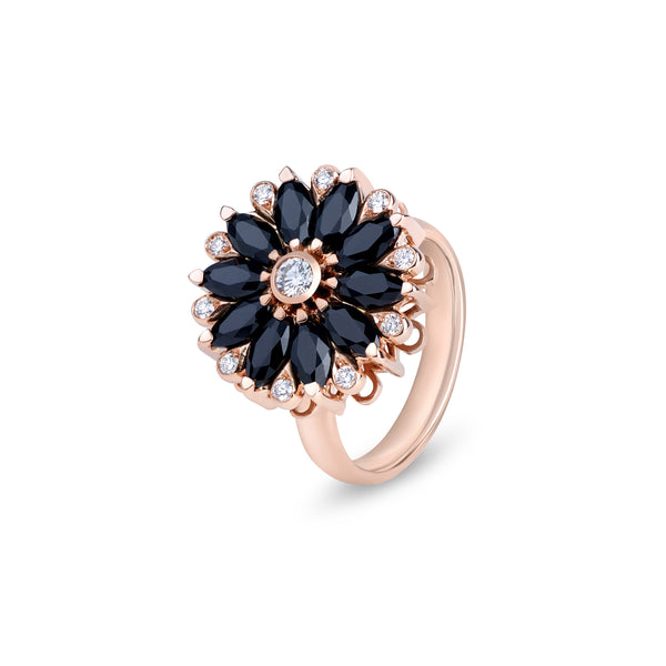 Amore Dalia Black Spinel Spinning Ring