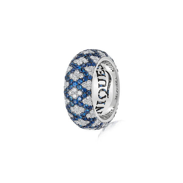 Starlight Seven Row Blue Sapphire and Diamond Lattice Ring