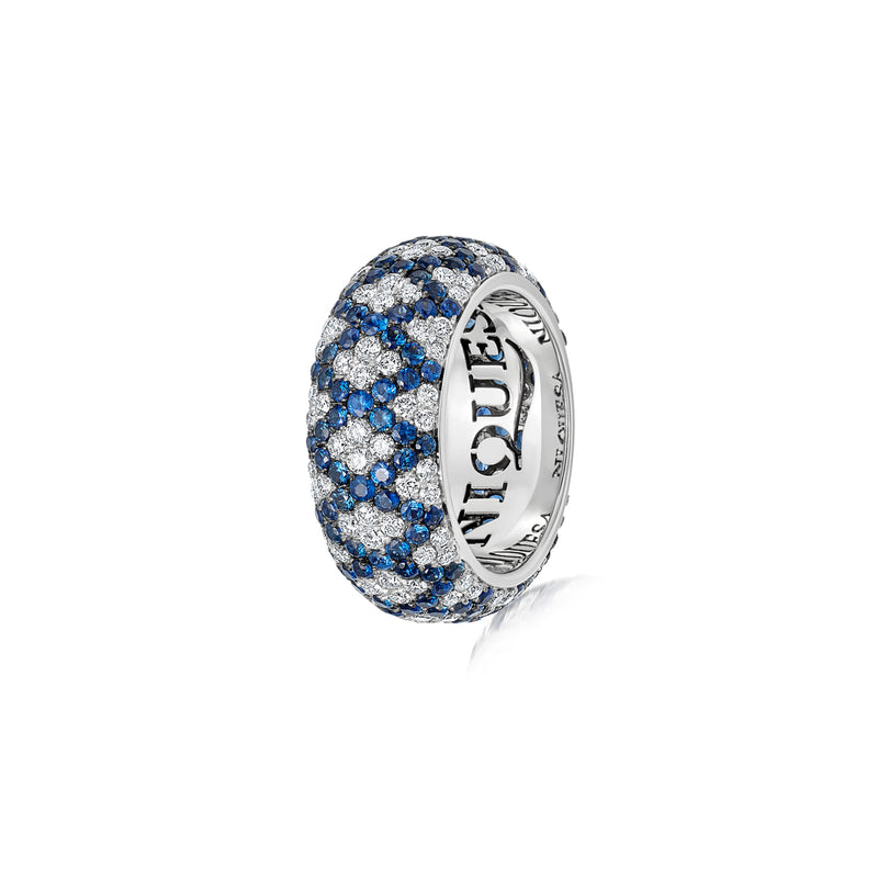Starlight Seven Row Blue Sapphire and Diamond White Gold Lattice Ring