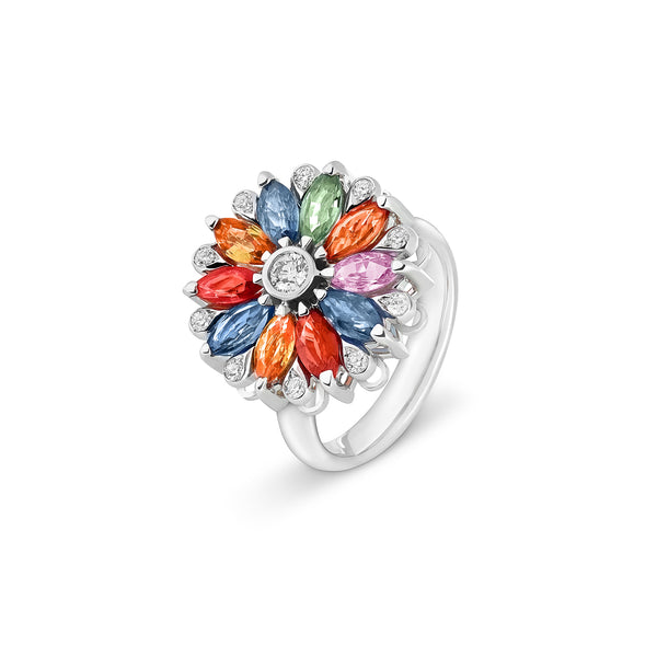 Amore Dalia Multicoloured Sapphire Spinning Ring