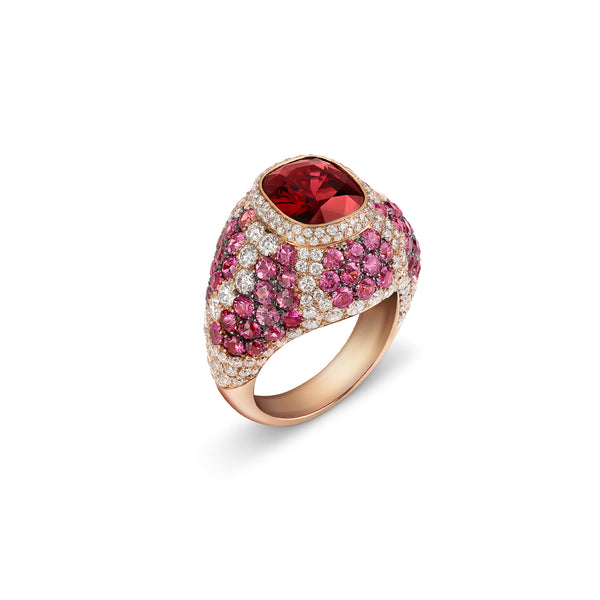 Signature Red Spinel Ring with Sapphires and Diamonds