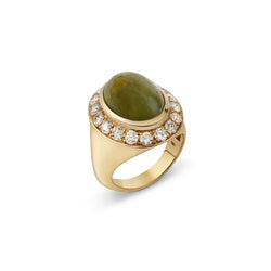 Pinky Green Sapphire and Diamond Yellow Gold Ring