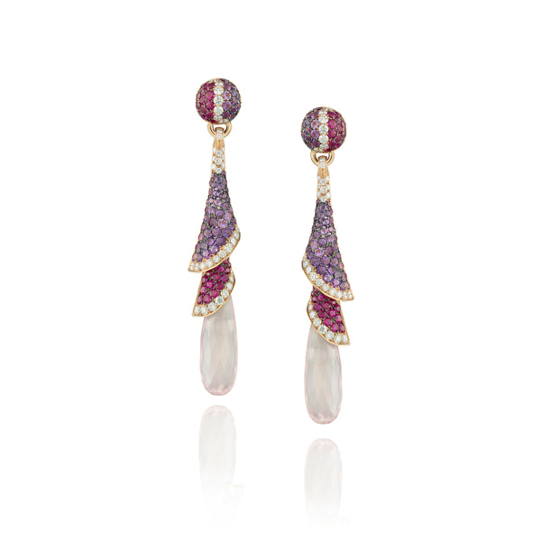 Venice Zanni Pink Quartz Drop Earrings with Ruby and Amethyst