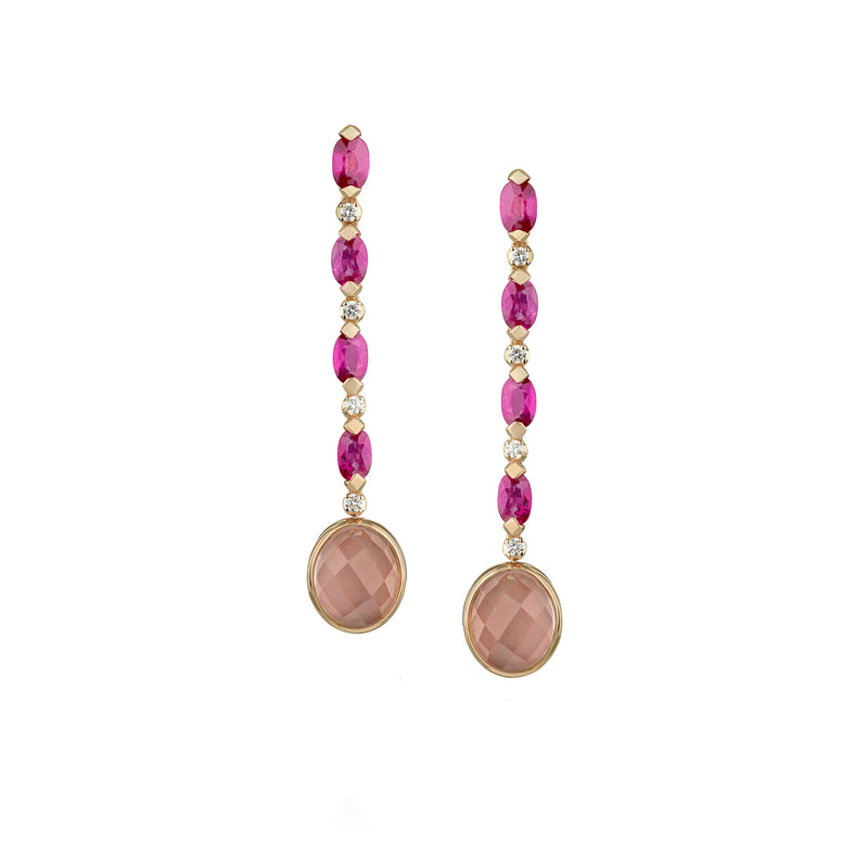 Venice Moretta Pink Quartz Drop Earrings