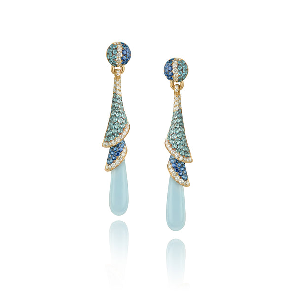 Venice Zanni Chalcedony Drop Earrings with Aquamarine and Blue Sapphire