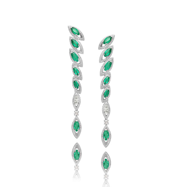 Petali Emerald and Diamond Drop Earrings