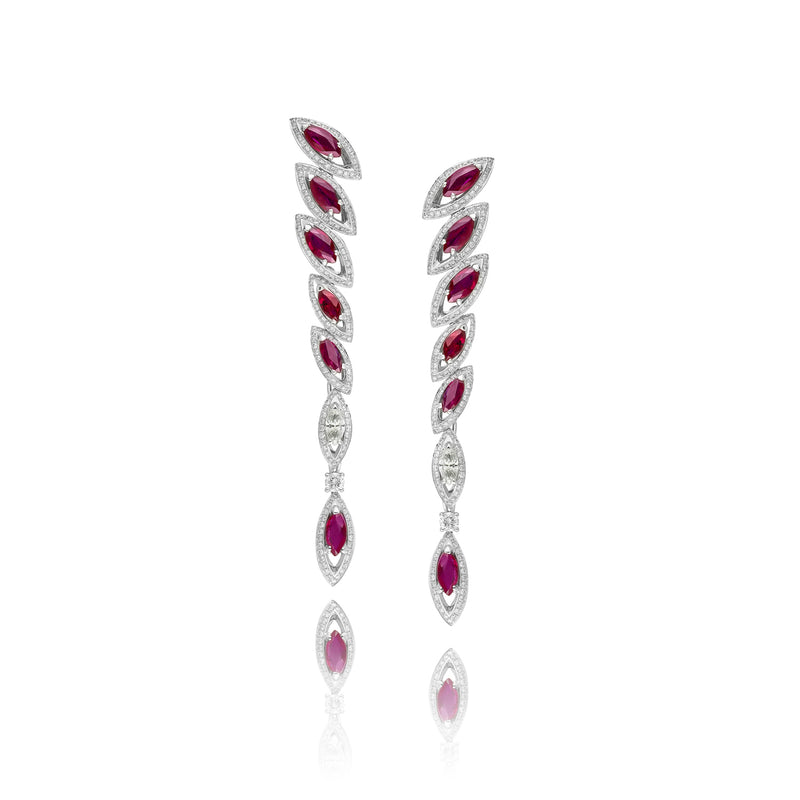 Petali Ruby and Diamond Drop Earrings