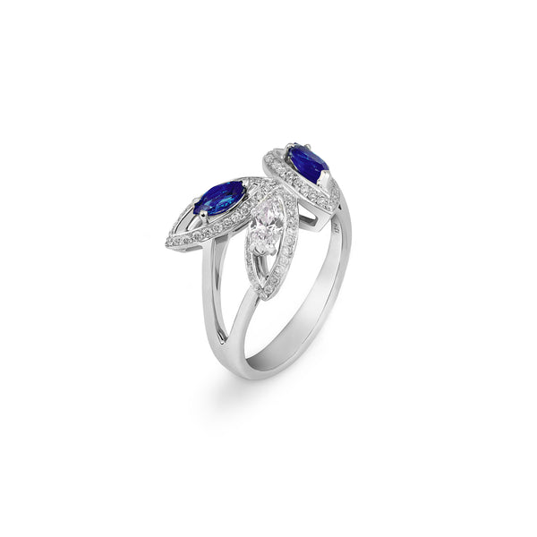 Petali Flora Ring with Blue Sapphire and Diamond