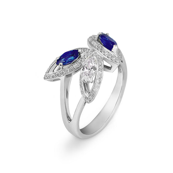 Petali Flora Blue Sapphire and Diamond Ring
