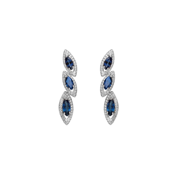 Petali Blue Sapphire Trilogy Earrings