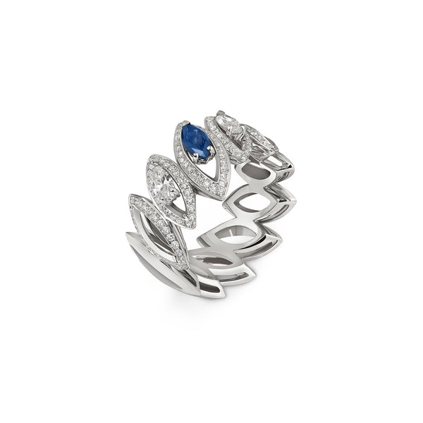 Petali Trilogy Double Diamond and Blue Sapphire Ring