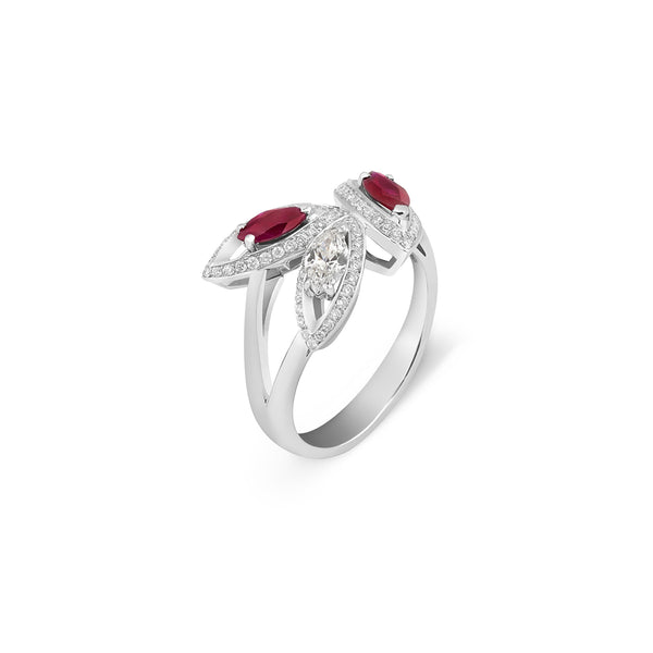 Petali Flora Ring with Ruby and Diamond