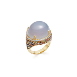Venice Moretta Calcedony Ring with Multicoloured Sapphire