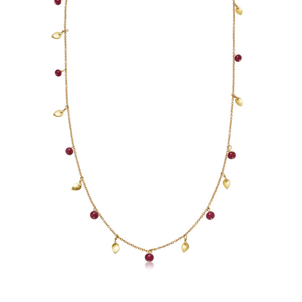 Yellow Gold Leaf Necklace with Ruby