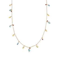Yellow Gold Leaf Necklace with Aquamarine and Ruby