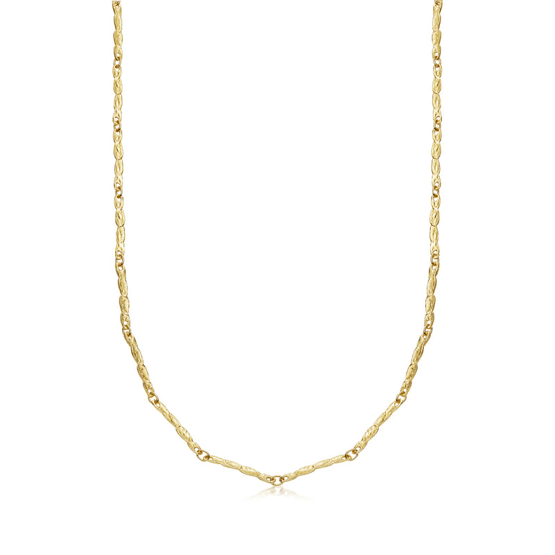 Handmade Elongated Yellow Gold Necklace