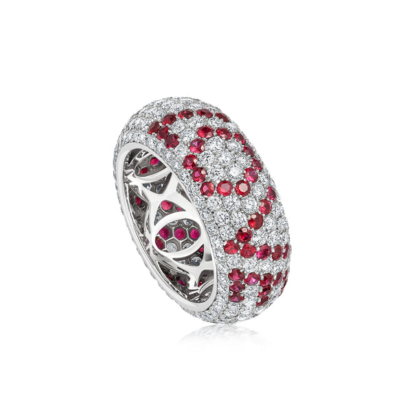 "Starlight Seven Row Diamond and Ruby ""LOVE"" Ring"