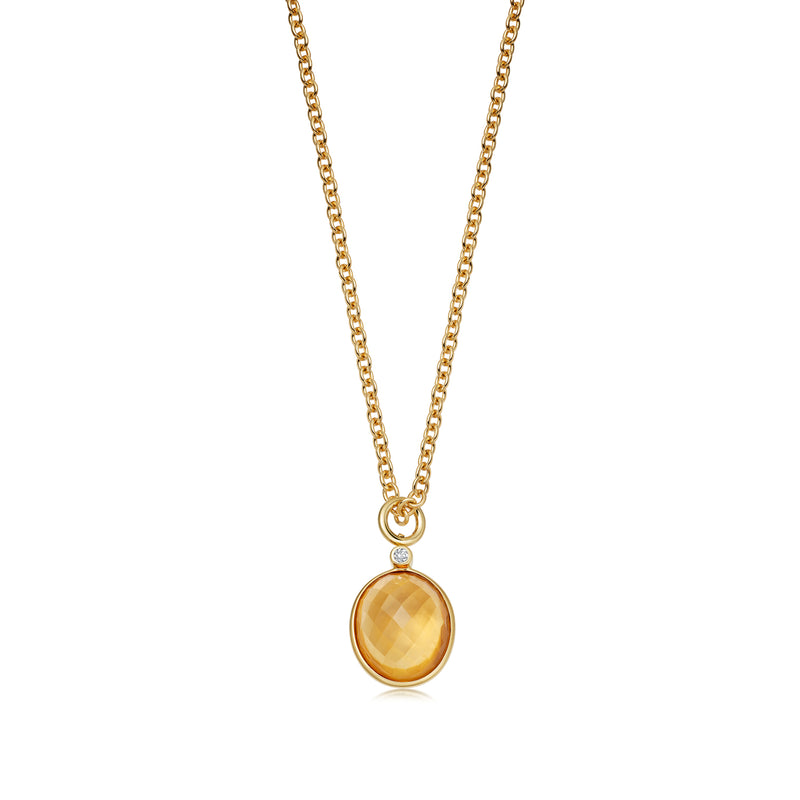 Venice Domed Faceted Citrine Pendant
