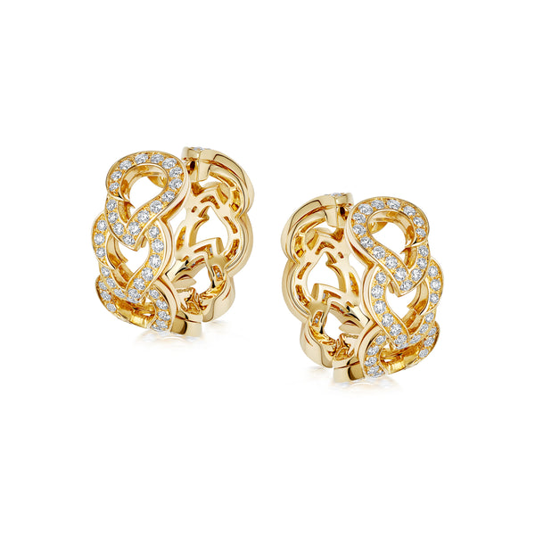 Kashmir Yellow Gold and Diamond Hoop Earrings