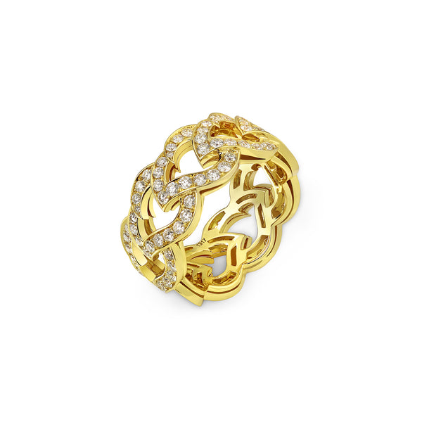 Kashmir Yellow Gold and Diamond Chain Ring