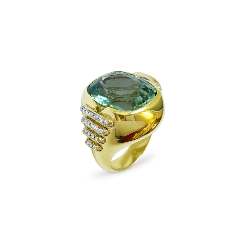 Signature Green Aquamarine and Diamond Ring