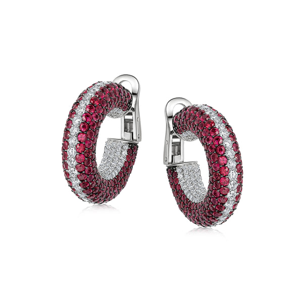 Starlight Large Ruby and Diamond Row Hoop Earrings
