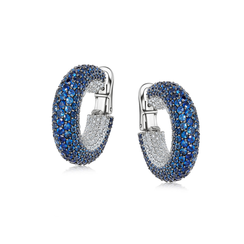 Starlight Large Blue Sapphire and Diamond Hoop Earrings