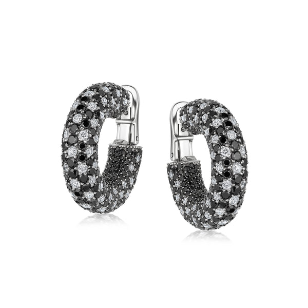 Starlight Large Black and White Diamond Galaxy Hoop Earrings