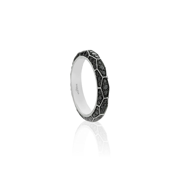 Ophidian Black Diamond White Gold Band Ring