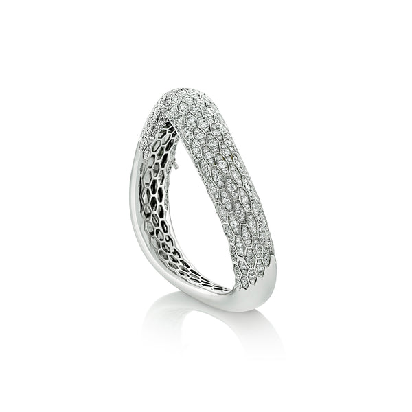 Ophidian White Gold Diamond Bangle