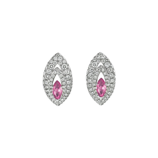 Gemma Pink Sapphire and Diamond Pave' Earrings