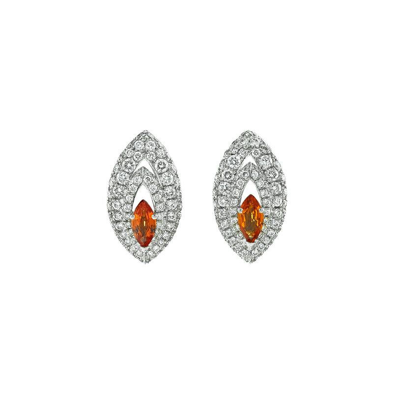 Gemma Orange Sapphire and Diamond Pave' Earrings