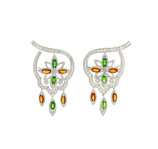 Stella Orange Sapphire and Tsavorite Earrings