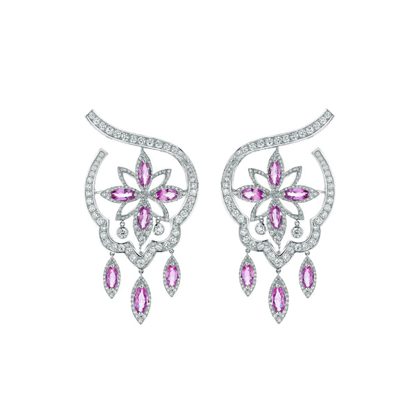 Stella Pink Sapphire and Diamond Earrings