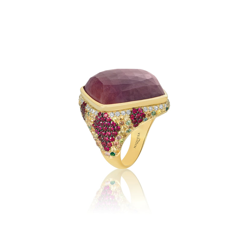 Venice Arlecchino Pink Sapphire Ring with Ruby