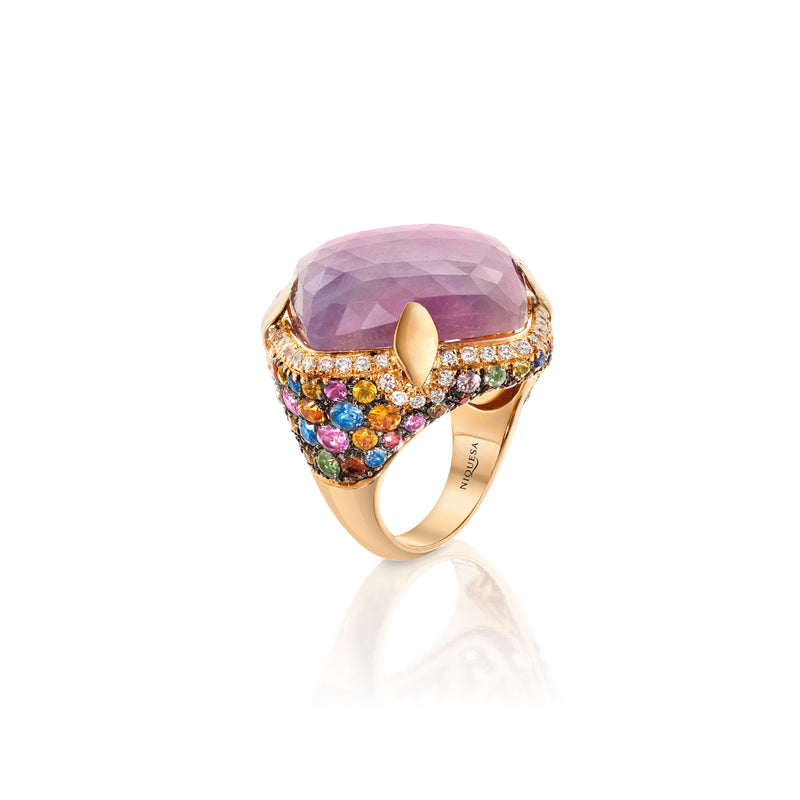 Venice Arlecchino Pink Sapphire Ring with Multicoloured Sapphire