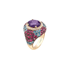 Venice Columbina Amethyst Ring with Rubelite and Aquamarine