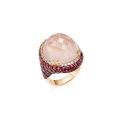 Venice Moretta Pink Quartz Ring with Ruby