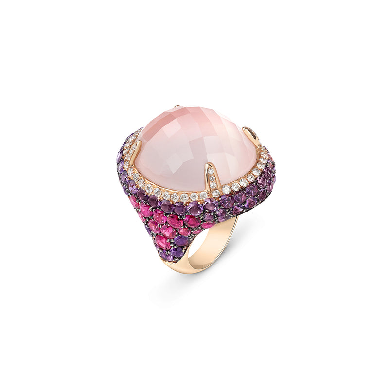 Venice Moretta Pink Quartz Ring with Ruby and Amethyst