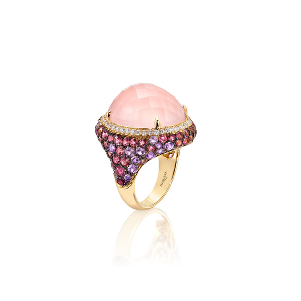 Venice Moretta Pink Quartz Ring with Rubelite and Sapphire