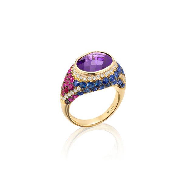 Venice Pulcinella Amethyst Ring with Ruby and Sapphire