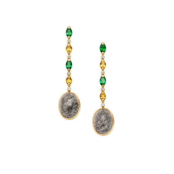 Venice Moretta Black and Golden Quartz Drop Earrings