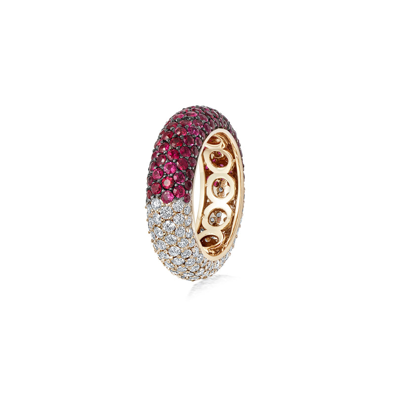 Starlight Six Row Ruby and Diamond Demi Ring